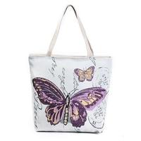 5 шт. бабочки печатных сумка леди Повседневное Tote Сумки Для женщин ежедневно Применение сумка-шоппер Женская парусиновая сумка (фиолетовый)