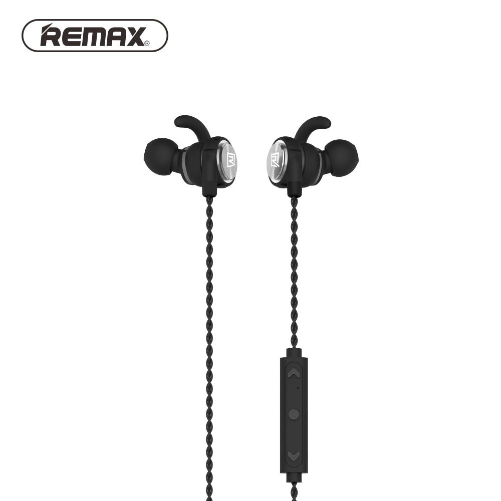 Remax Magnetic Bluetooth Earphone Sport High Fidelity Stereo In-Ear Earphone Music Microphone IPX5 Waterproof Sport Headset omasen om m6 stylish stereo in ear earphone w microphone black white 110 cm page 1