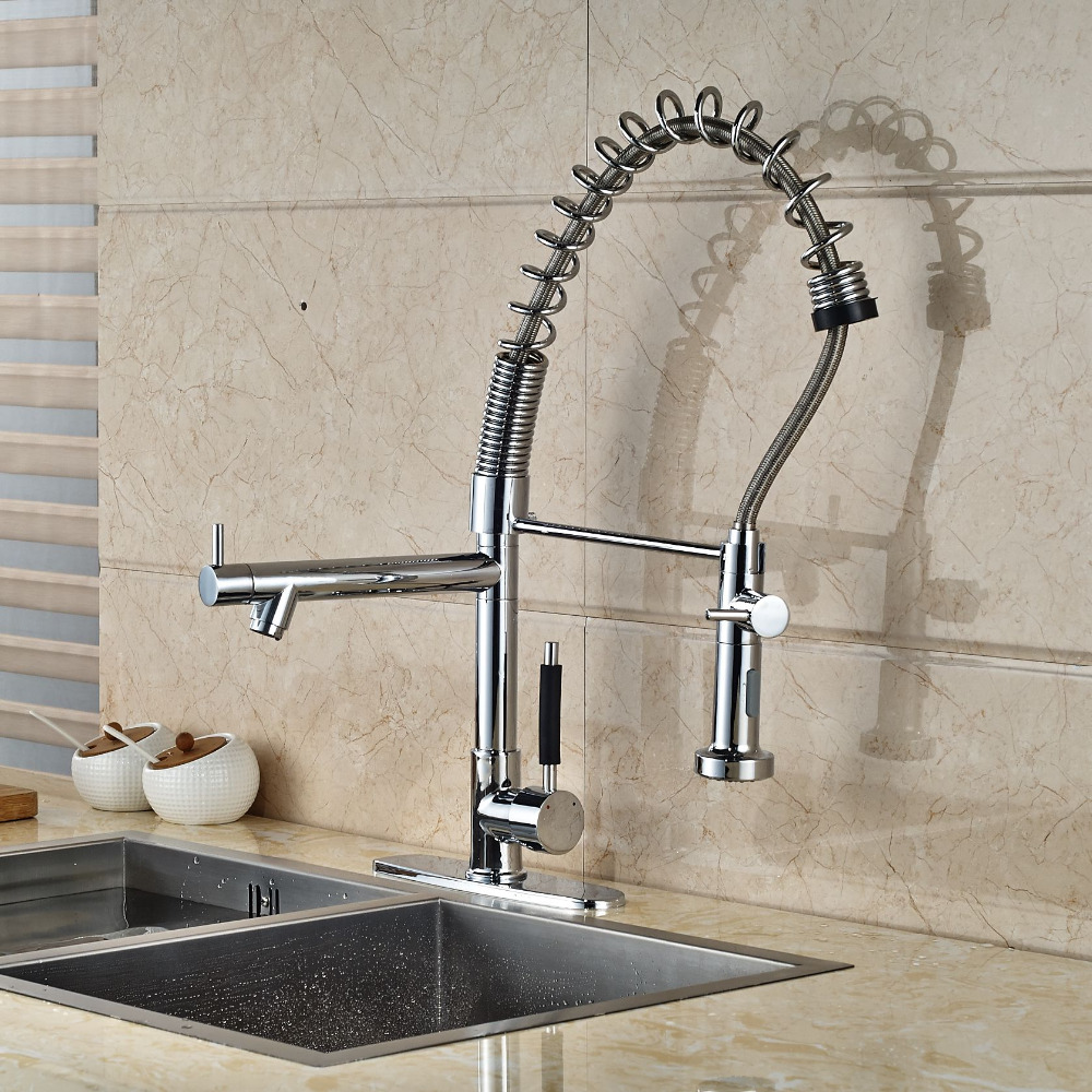 Dual Spouts Chrome Kitchen Faucet Vessel Sink Mixer Tap W/ 8'' Hole Cover Plate swanstone dual mount composite 33x22x10 1 hole single bowl kitchen sink in tahiti ivory tahiti ivory