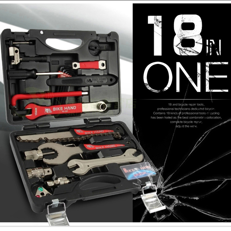 цены Bikehand Bicycle Repair Tool Kit 18 in 1 YC-728 Professional Bike Tool Box Shop/Home For Shimano Cycling Repair Case Tool Sets