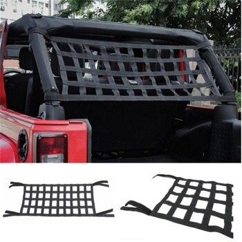 1pc red cloth roof net heavy duty network cargo roof net car hammock storage for jeep wrangler tj jk jku jl 2007 2018 Car Auto Hammocks Bed Cargo Net Roof Rack Luggage Cargo Net For Jeep Wrangler JK 07-18