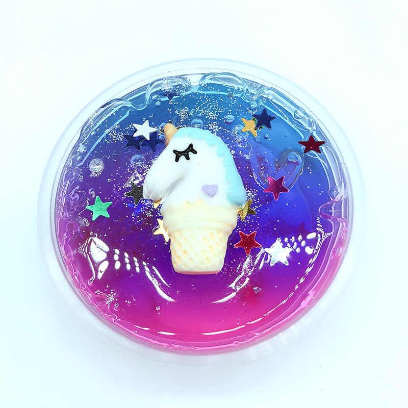Цветной слайм с единорогом и звездами, кристальная грязь, Звездный Единорог, жемчужный шар, глина, сделай сам, антистресс, игрушка, слайм, шпатлевка, детская Лизун, игрушка, подарок