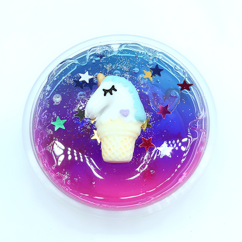 Colorful Unicorn Stars Slime Crystal Mud Starry Unicorn Pearl Ball Clay DIY Antistress Toy Slime Putty Children's Lizun Toy Gift
