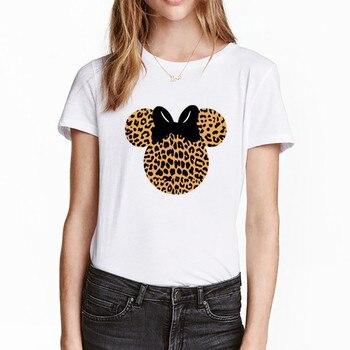 2019 Mujer Camisetas Harajuku Camiseta Gráfico Grano Y Head Streetwear Femenina Leopardo Tops Mickey Mujeres Linda Minnie Verano rdeQCxoWB