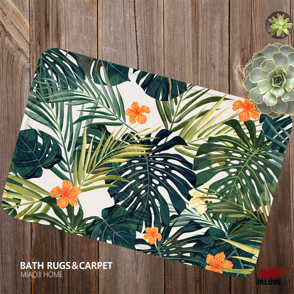 [MIAOJI] The Lush Leaves Flower Vital Strikingly Color Soft Feet Dust Rub Carpet Doormat Bath Mat Absorbent Non-Slip