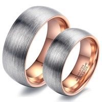 Men Women Couple Rings Tungsten Steel Wedding Engagement Promise Band Rose Gold Or Black Color High