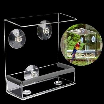 Envío gratuito creativo alimentador de pájaros para mascotas ventana transparente ardilla a prueba de aves alimentador de ventana 2017 Nuevo