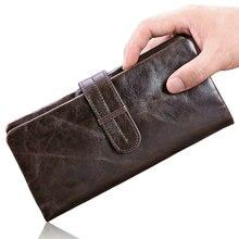 Männer Brieftasche Aus Echtem Leder Rindsleder Vintage Münzfach Lange Männer Leder Geldbörsen Clutch Geld Tasche Mann Geldbörse Kreditkarten