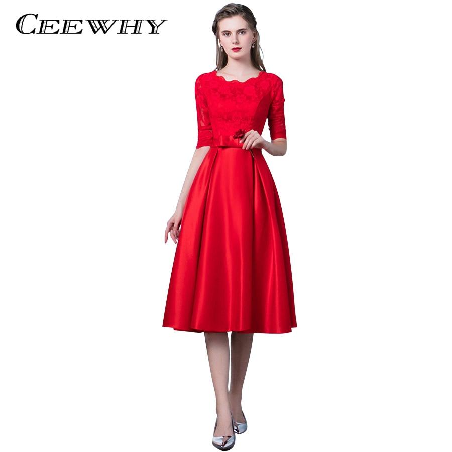 CEEWHY Elegant O Neck Tea length Lace Evening Dress Half Sleeve Prom Dresses Robe De Soiree