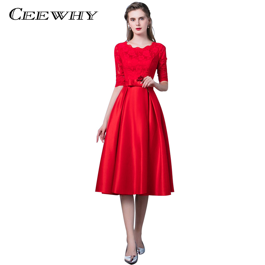 CEEWHY Elegant O-Neck Tea-length Lace   Evening     Dress   Half Sleeve Prom   Dresses   Robe De Soiree Satin   Evening   Gown Robe De Soiree