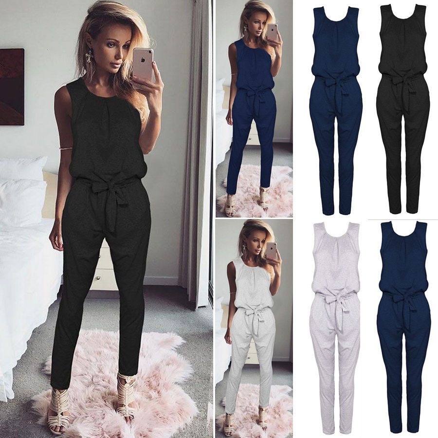 Jumpsuits Summer 2019 New Solid Color Casual Women Jumpsuit Elegant Fashion Streetwear Black White Jumpsuit Office Blue Jumpsuit