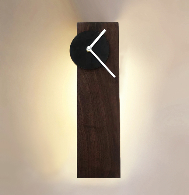 Geometry Rectangle Brief Modern Walnut Wood Mute Wall Clock With Lamp Bed Design Porch Sconce Bedside Art Home Decor