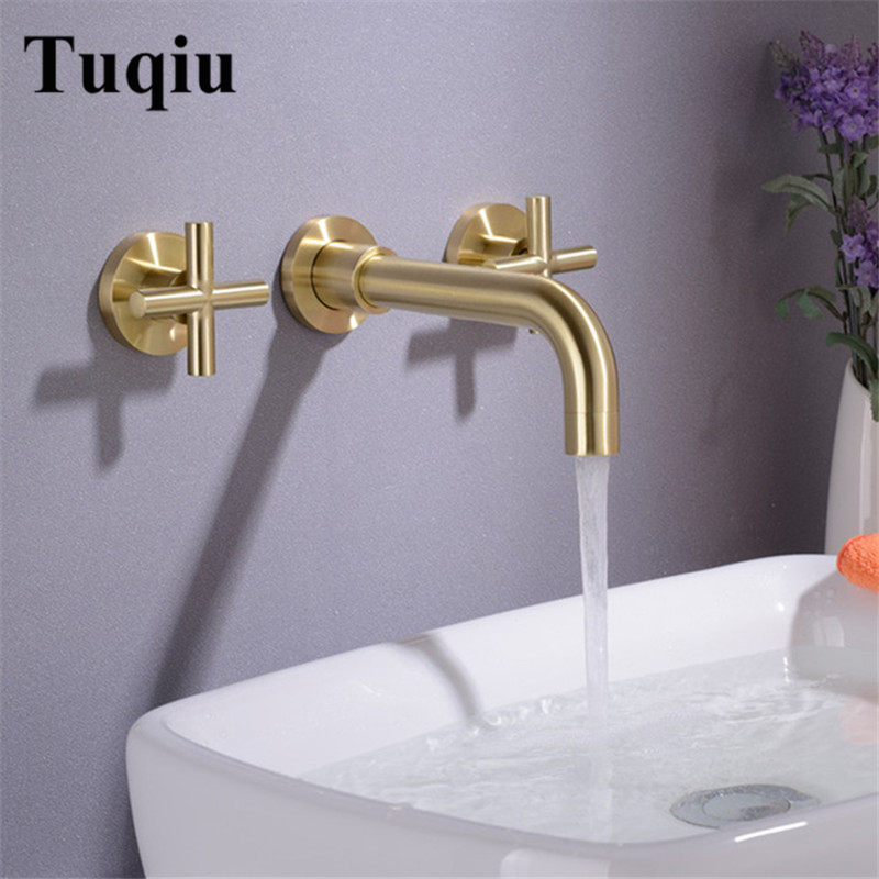 Basin Faucet Wall Mounted Brushed Gold Brass Dual Handle In Wall Bathroom Basin Faucet 3 Holes