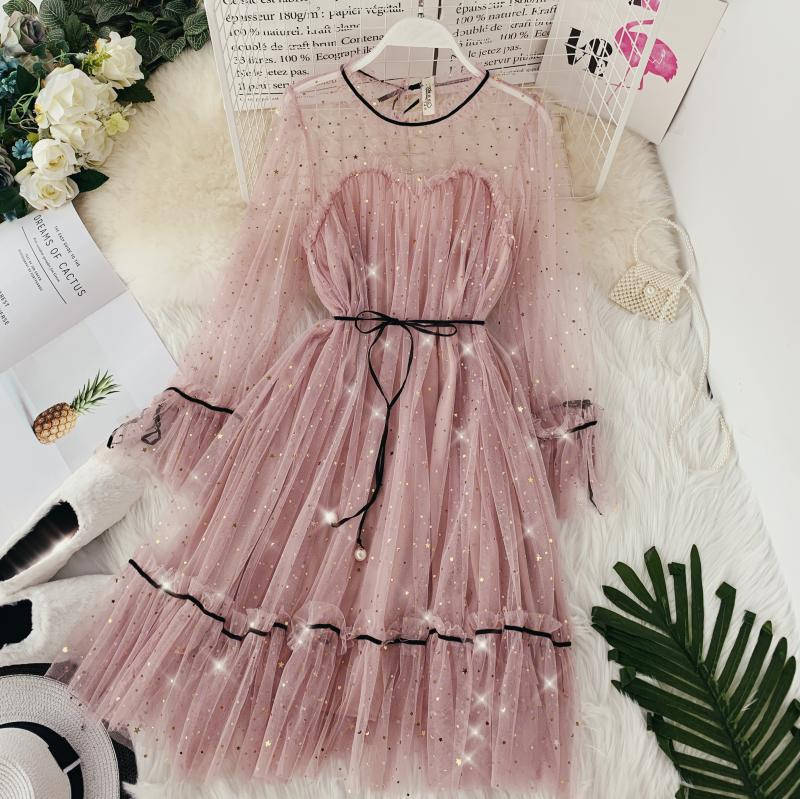 HISUMA spring autumn new women Star sequins gauze flare sleeve lace-up Princess dress female elegant o-neck mesh puff dresses 33