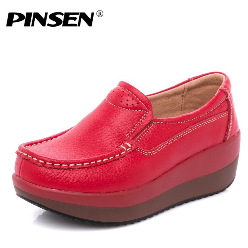 PINSEN 2018 Autumn Women Flat Platform Loafers Ladies Shoes Genuine Leather Slip-on Casual Shoes Woman Flats Moccasins creepers цена