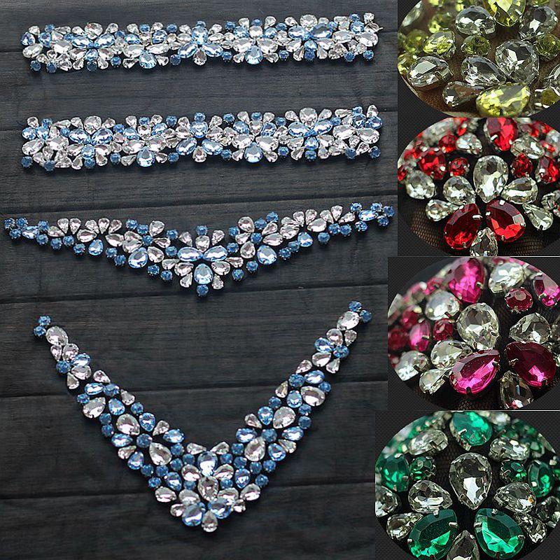 Rhinestone Applique Křišťálové Trim Rhinestone Beaded Applique Svatební Příslušenství Svatební šaty Žehlička Belt Čelenka