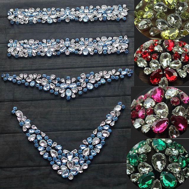 Rhinestone Applique Crystal Trim Rhinestone Beaded Applique Bridal  Accessories Wedding Dress Sash Belt Headband 99adb8fb359c