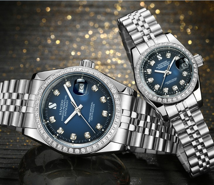 SANGDO Blue dial dial Automatic Self Wind movement High quality Luxury Couples watch Mechanical watches 025S