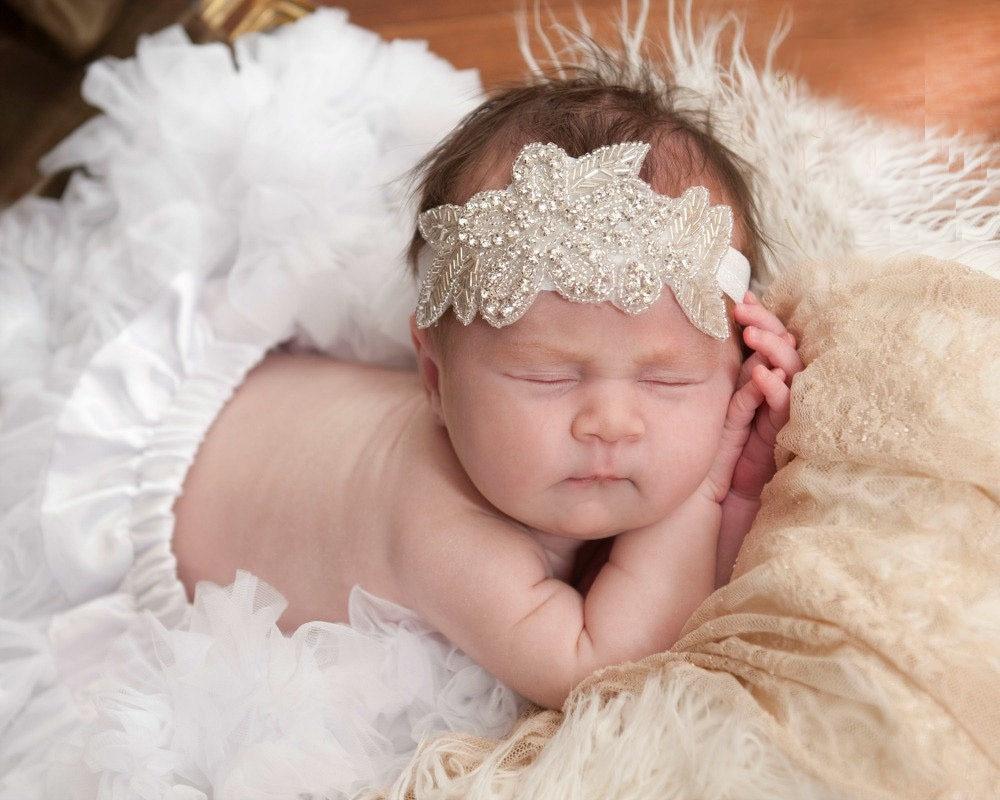 Wholesale Baby Girl Christening Headband for Hair Accessories Newborn  Baptism Headband Hairband Diamond Baby Headband 60pcs lot c3df19c8c99