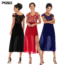 PGSD New Spring summer Fashion women clothes boat neck strapless sling Screen stitching Unilateral forking Chiffon Dress female