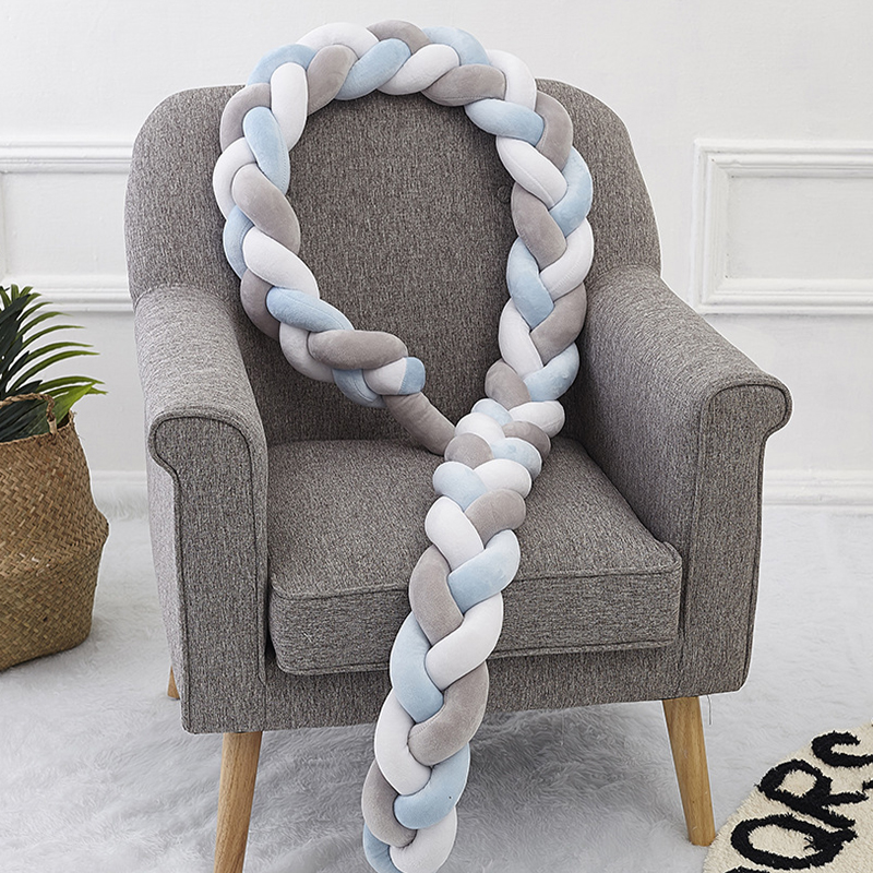 300CM Baby Bed Bumper Knot Pillow Baby Crib Protection Cot Bumper Bedding Cradle Bumper Baby Shower