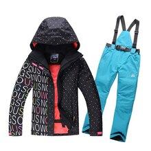 High Quality Women Ski Suit Sets Windproof Waterproof Winter Ski Jacket+Pants Warm Breathable Wearproof