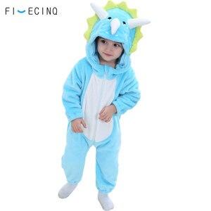 Image 3 - Animal Triceratops Kigurumis Baby Kid Onesie Blue Dinosaur Cosplay Costume Flannel Warm Funny Cute Sleep Jumpsuit Fancy Pajama