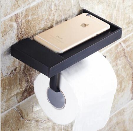 High Quality black oil toilet paper holder copper paper towel holder roll tissue box bathroom hardware luxury paper roll holder panda style cute tissue roll box small gadget trash black