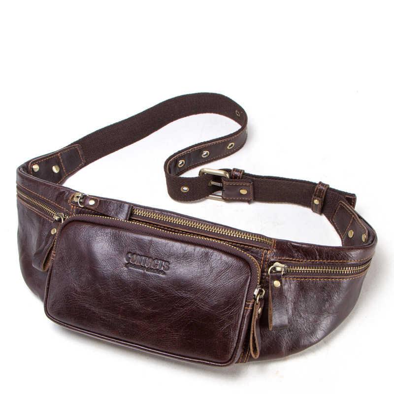 49a6975d9578d Men's Fanny Waist Pack Genuine Leather Waist Bag Leg Hip Wallet Men Mini  Coin Bum Bag