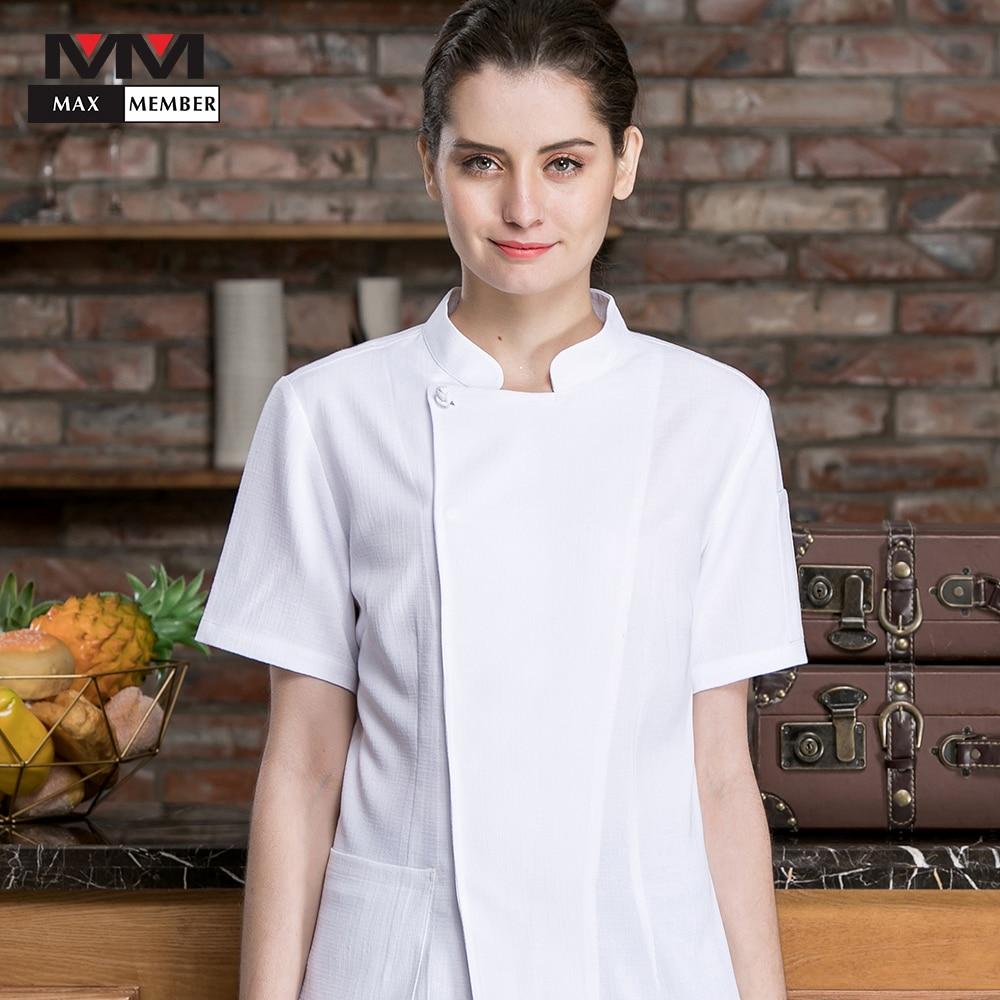 2019 New Cook Wear Unisex Jacket Kitchen Chef Uniform Sets Food Service Short Sleeve Breathable Restaurant Men Women Clothes