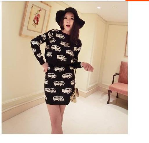 new fashion Autumn Winter women cute car pattern knitted sweater dress  O-Ncek thick section two- piece suit 130d338c7