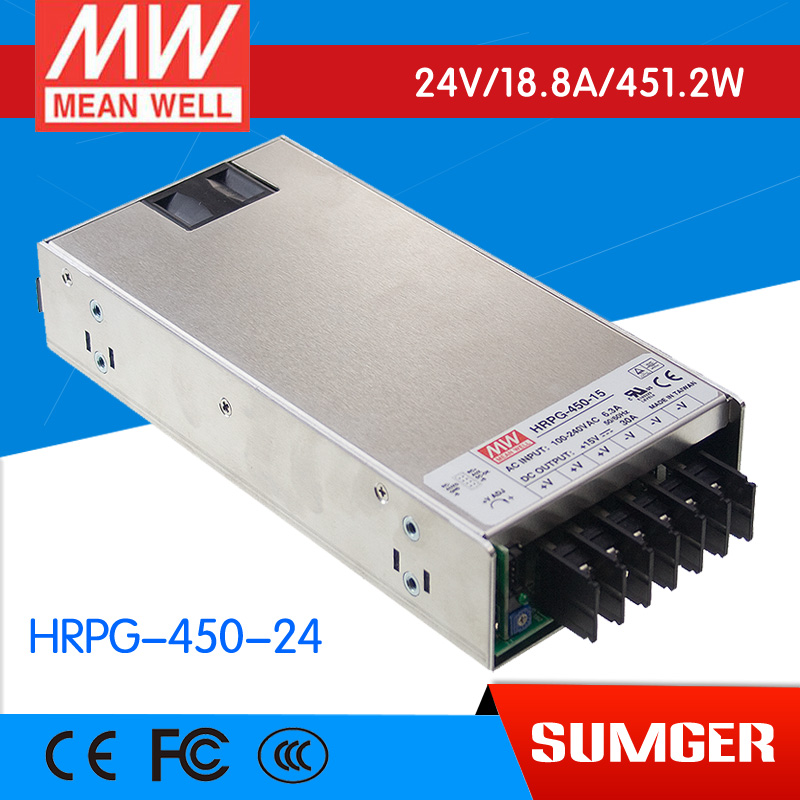 1MEAN WELL original HRPG-450-24 24V 18.8A meanwell HRPG-450 24V 451.2W Single Output with PFC Function  Power Supply 1mean well original hrpg 450 5 5v 90a meanwell hrpg 450 5v 450w single output with pfc function power supply
