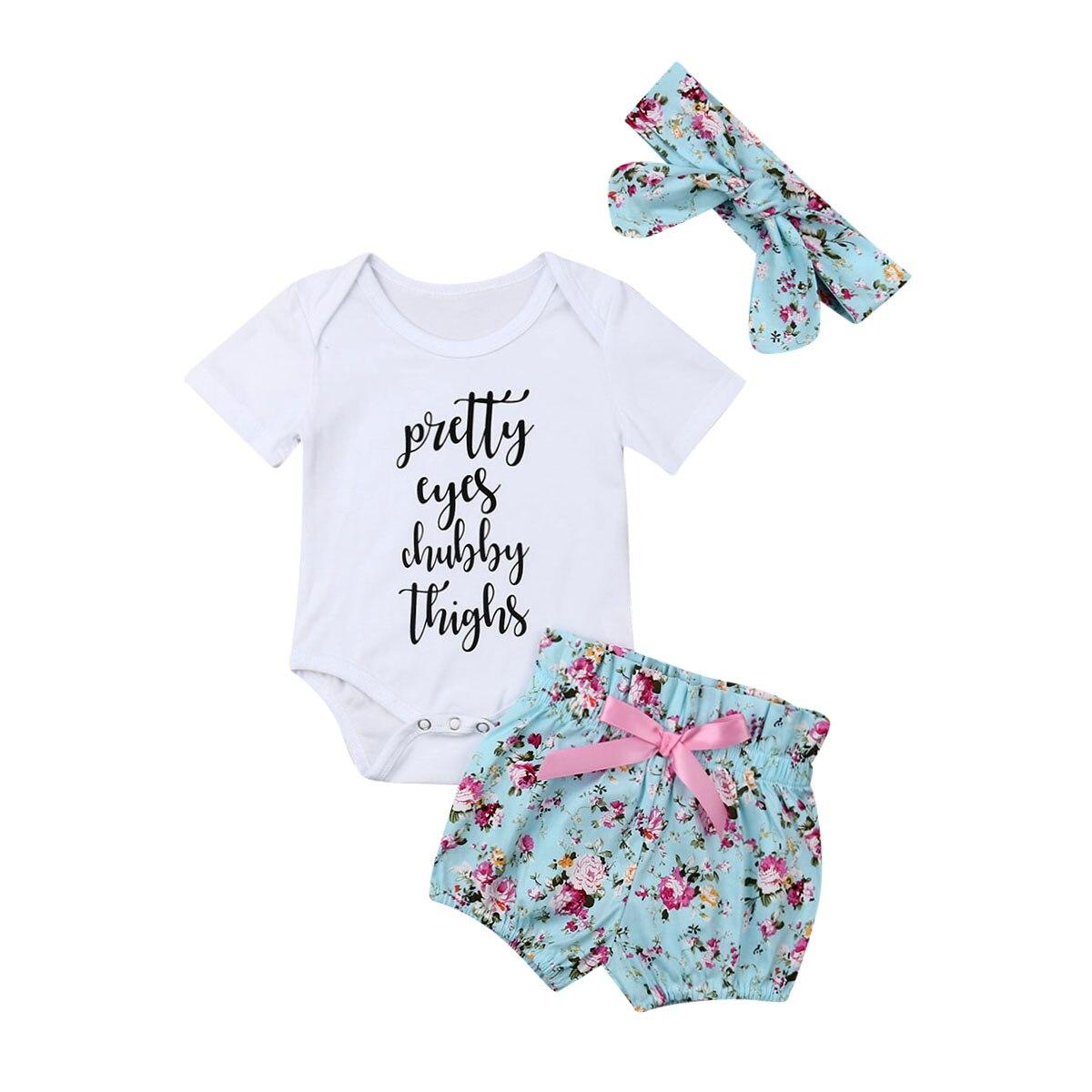 0-18 M Nette Neugeborene Baby Mädchen Kurzarm Baumwolle Body Tops Floral Bowknot Shorts Hose Stirnband 3 Pcs Baby Mädchen Kleidung Set