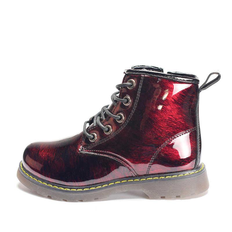 หญิงรองเท้า 2019 ฤดูใบไม้ร่วง/ฤดูหนาวรองเท้าเด็กรองเท้าหนังเด็ก Martin รองเท้ากันน้ำลื่นแฟชั่น Warm Plush เด็กรองเท้า EU 26-36