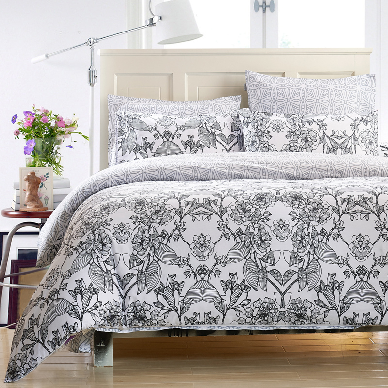 New Cotton 4pc Duvet Cover Set Ikea Style Bedding Set Flat