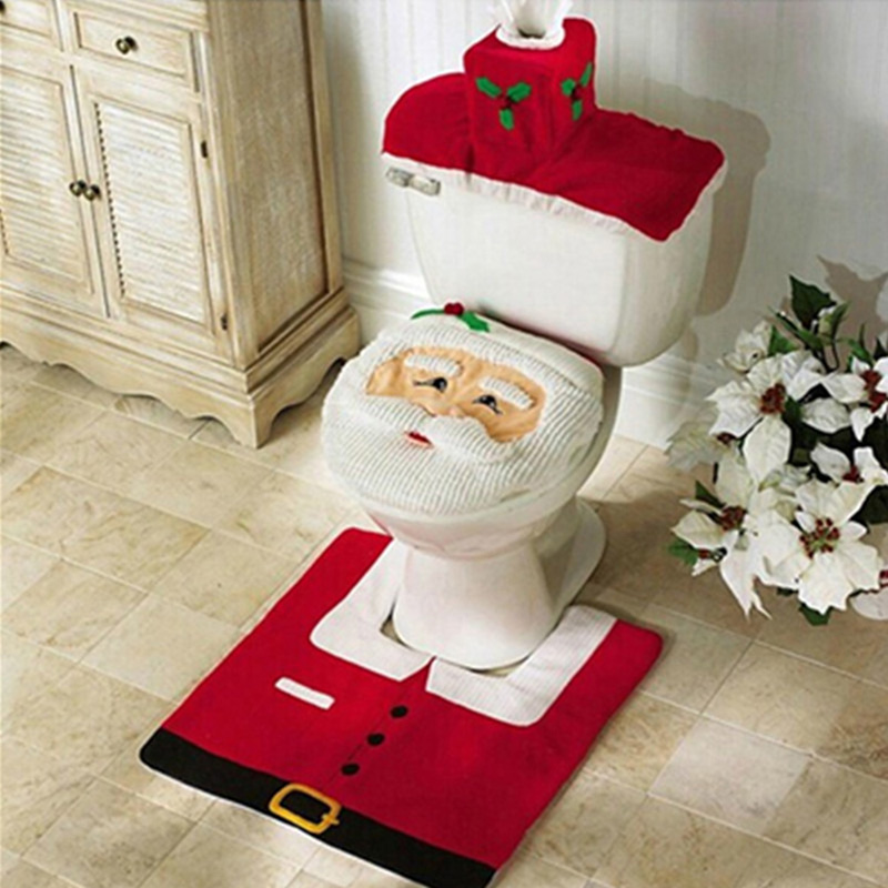 Hot 3pcs Santa Claus Christmas Bathroom Toilet Seat Cover Tissue Box Tank Cove & Mat Cushion Cover