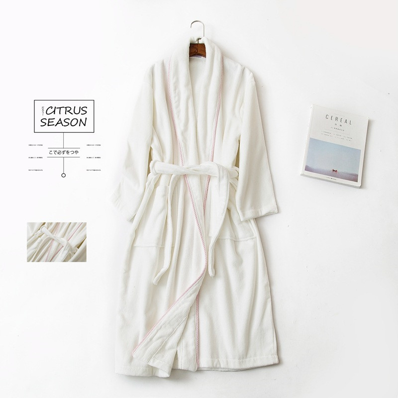 1Pc Unisex 100% Pure Cotton Bathrobe European Style Large Size Sleepwear  For Women Man Simple White Soft Long Bath Robe T6 710f0650b