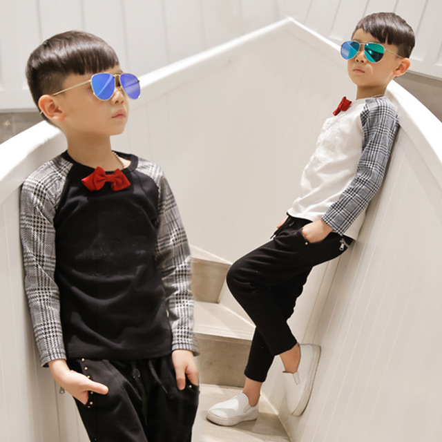 Baby boy одежда осень зима 2016 марка плед мальчиков одежда топ галстук-бабочку плед майка дети sweatershirt для мальчика одежда