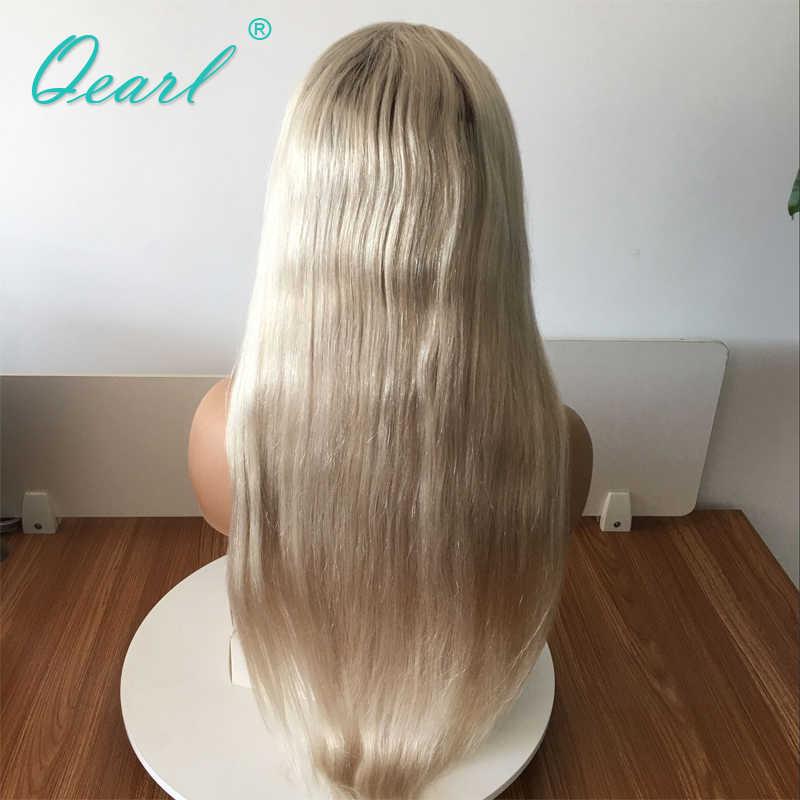 Kül Sarışın Ombre % 4/60 İnsan Saç Tam Dantel Peruk Küçük Kap Boyutu Düz Peruk Brezilyalı Remy Saç At Kuyruğu Topuz 150% yoğunluklu Qearl