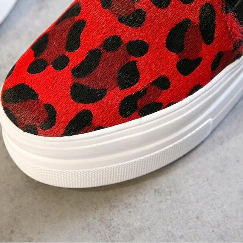 Casual Plate forme Cuir Crin Sneakers Talons 2019 Véritable Haute Couleurs Femme Femmes jaune Printemps Chaussures Rouge Mode Sort wAxqvPz4