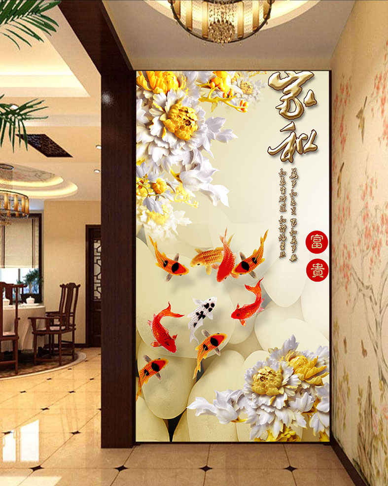 Custom Closet Sliding Door Window Stickers Affixed To Glass Opaque Matte Wardrobe Decorative Sticker Goldfish Lotus In Wall From Home Garden