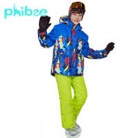 Phibee Winter Ski Suit For Boys Clothes Warm Waterproof Windproof Snowboard Sets Winter Jacket Kids Clothes Children Clothing