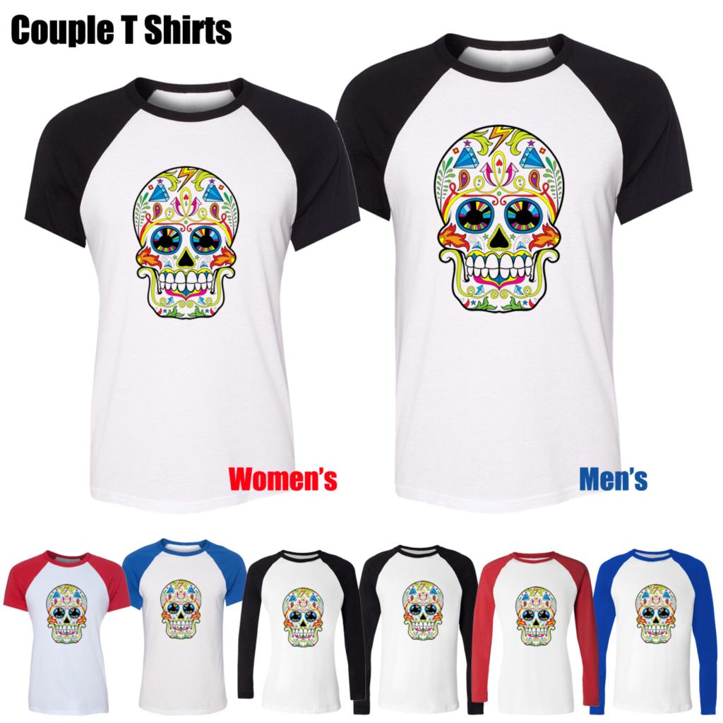 Shirt design wallpaper - Colorful Painted Skull Wallpaper Design Printed T Shirt Women S Girl S Tee Tops Red Or Black