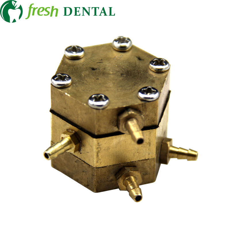 10PCS dental Hexagonal hexagon Valve dental chair dental unit single air control valve with 4 connectors