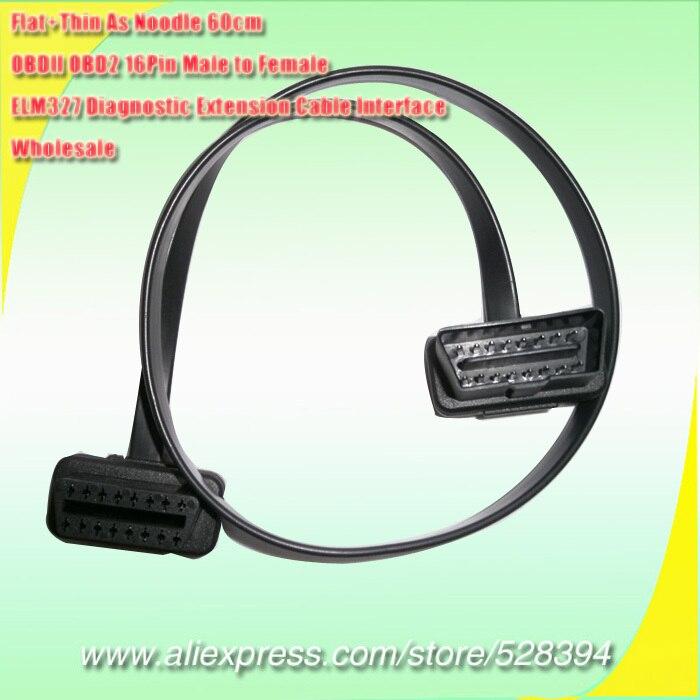 Prix pour 60 cm Mince Nouilles OBD2 16 Broches ELM327 Mâle À Femelle OBD2 Câble Plat Connecteur D'extension Ultra Faible Profil Interface