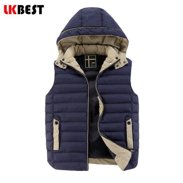 LKBEST Men's vest 2017 High Quality Men cotton padded Winter Coat Hat Detachable Men Waistcoat Sleeveless down vest (MJ02L)