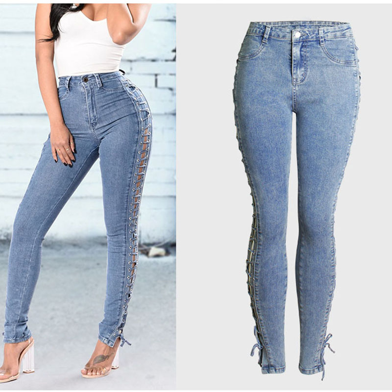 Plus Size Fashion Jeans Women High Waist Denim Pants Bleached Washed Lace up Jeans Trousers Slim Sexy Stretch Denim Pants Jeans 5xl plus size jeans 2017 new high waist jeans fashion elastic women washed pants casual pencil denim slim trousers wiccon