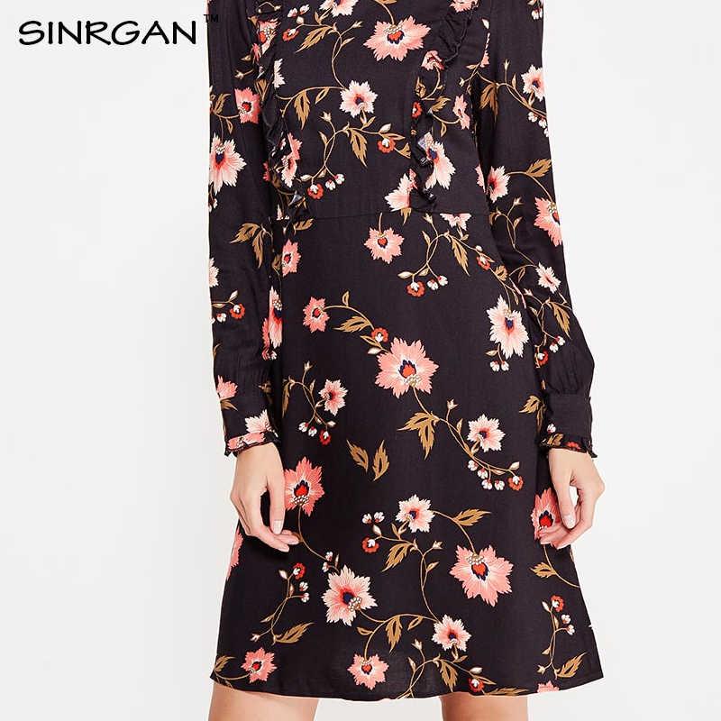 Sinrgan 2017 Демисезонный Для женщин Винтаж платье Цветочный принт колена Платья для женщин с длинным рукавом Тонкий женский Платье трапециевидной формы для вечеринки Vestidos