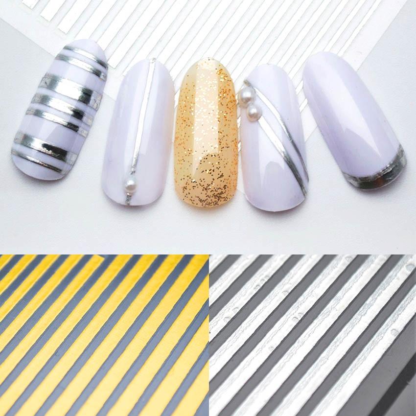 Gold Striping Tape Nail Art: 1 Sheet Gold Striping Tape 3D Nail Stickers Decoration