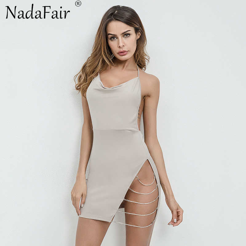 4080f33aa ... Nadafair Backless High Split Halter Wrap Bodycon Sexy Dress Women  Sleeveless Chain Summer Mini Party Club ...